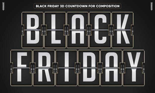 Maqueta de cuenta regresiva 3d de black friday
