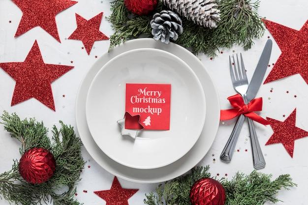 Maqueta de decoración navideña de vista superior