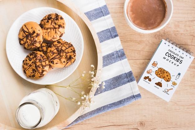 Maqueta de deliciosas galletas de chocolate