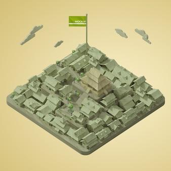 Maqueta del día mundial de las ciudades 3d
