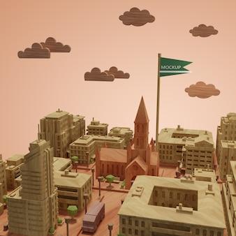 Maqueta del día mundial de las ciudades