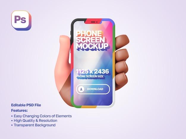 Maqueta de dibujos animados en 3d con la mano izquierda que muestra y sostiene un teléfono inteligente en orientación vertical