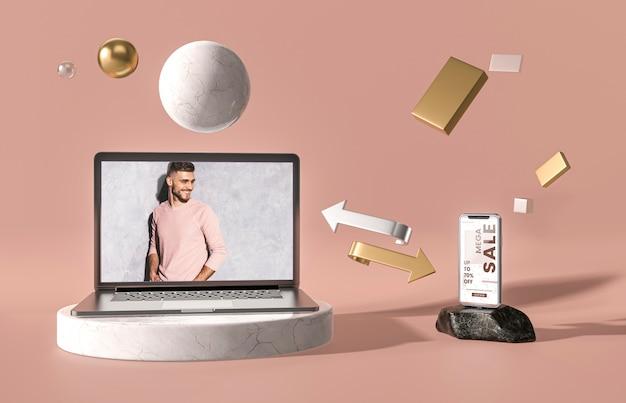 Maqueta digital 3d tableta y teléfono inteligente