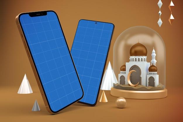Maqueta de diseño de android ramadán