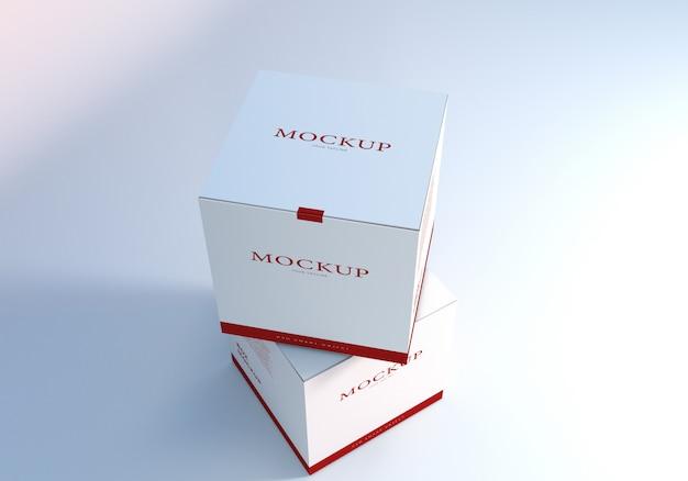 Maqueta de diseño de caja de embalaje blanco realista