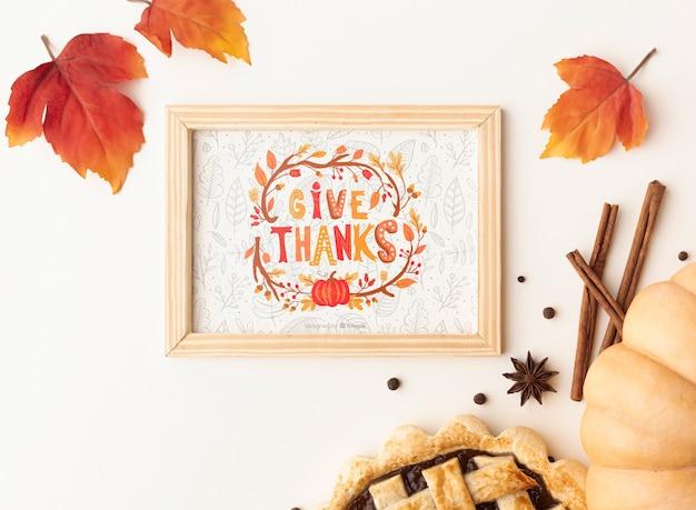 Maqueta con diseño del día de acción de gracias