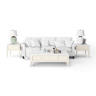 Maqueta de diseño de interiores de sala de estar con muebles blancos.