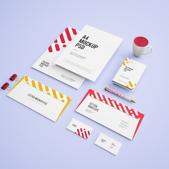 Maqueta de diseño de marca estacionaria corporativa con colores cambiables