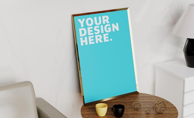 Maqueta de diseño de marco de fotos en blanco
