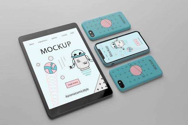 Maqueta de diseño minimalista con tableta y teléfonos inteligentes.