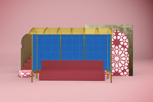 Maqueta de diseño de parada de autobús árabe