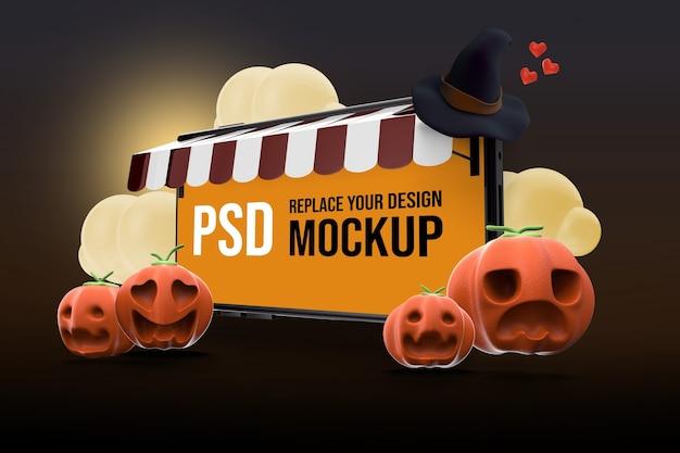 Maqueta de diseño de smartphone de halloween
