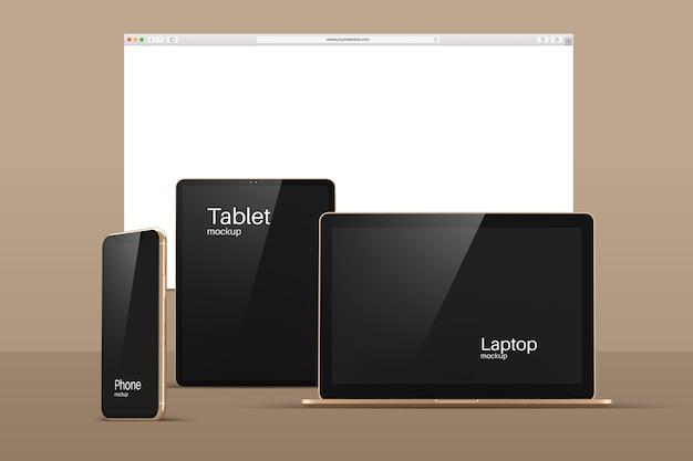 Maqueta de dispositivos modernos