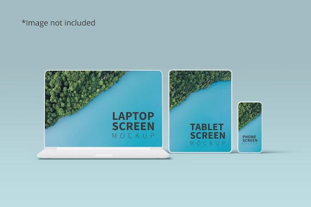 Maqueta de dispositivos receptivos con computadora portátil, tableta y teléfono