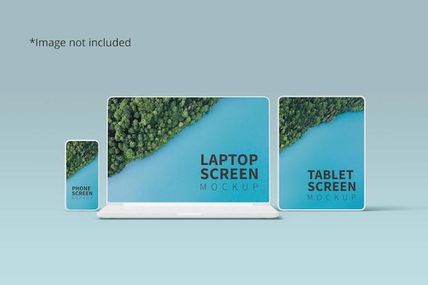 Maqueta de dispositivos receptivos con teléfono, computadora portátil y tableta