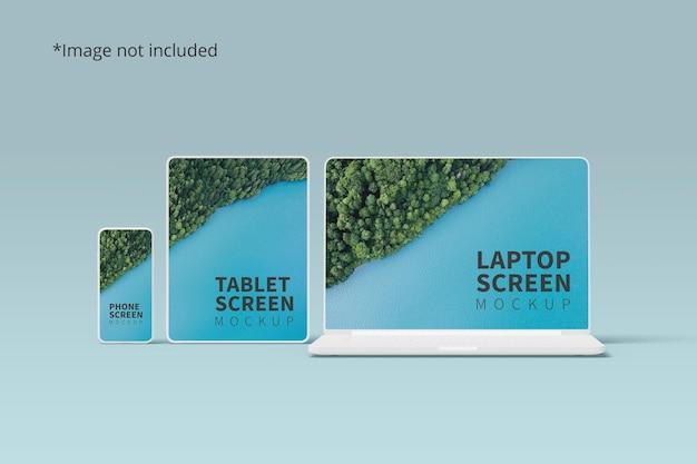 Maqueta de dispositivos receptivos con teléfono, tableta y computadora portátil