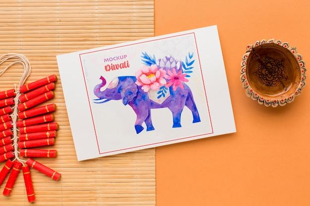 Maqueta diwali festival hindú acuarela elehpant vista superior