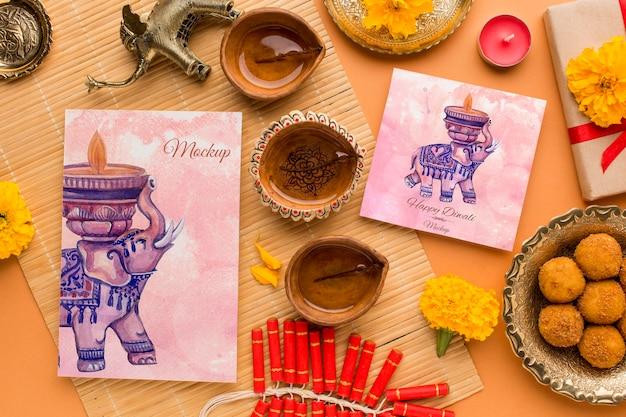Maqueta de diwali festival hindú arreglo de elehpant de acuarela