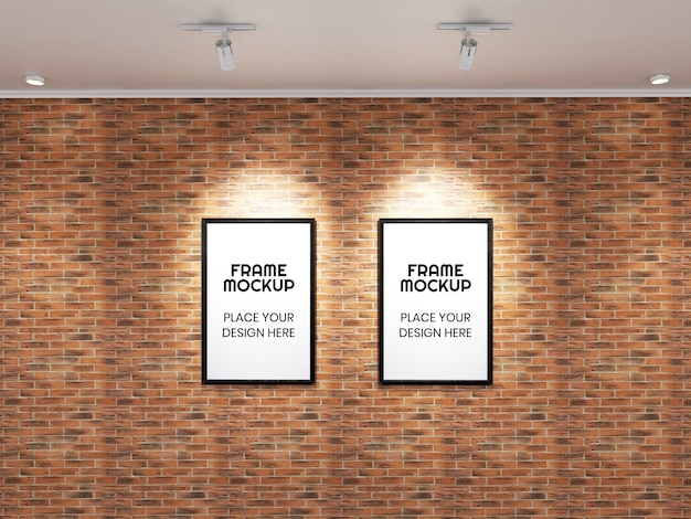 Maqueta de doble marco de fotos en la pared de ladrillo