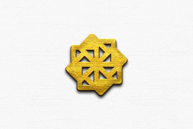Maqueta dorada del logo 3d