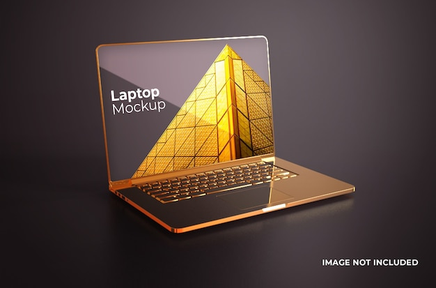 Maqueta dorada de macbook pro