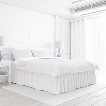 Maqueta de dormitorio blanco con elementos decorativos.