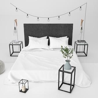 Maqueta de dormitorio moderno con elementos decorativos.