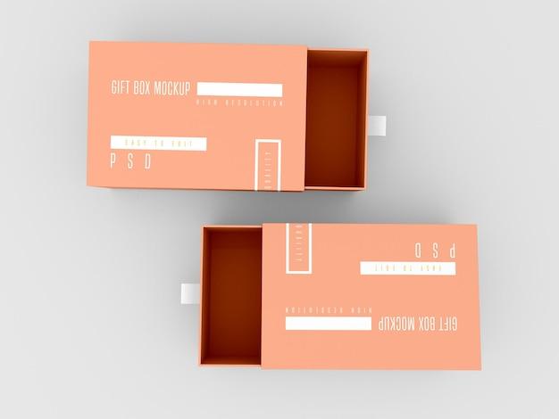 Maqueta de dos cajas de entrega abiertas