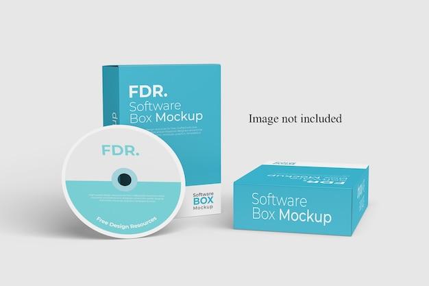 Maqueta de dos cajas de software