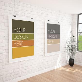 Maqueta de dos carteles colgantes verticales en el interior de una galería moderna
