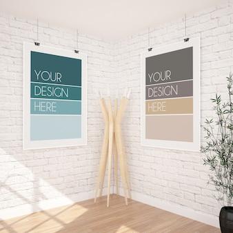 Maqueta de dos carteles colgantes verticales en un interior moderno