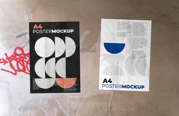 Maqueta de dos carteles en la pared de grunge