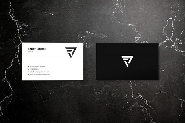Maqueta de dos tarjetas de visita de mármol oscuro