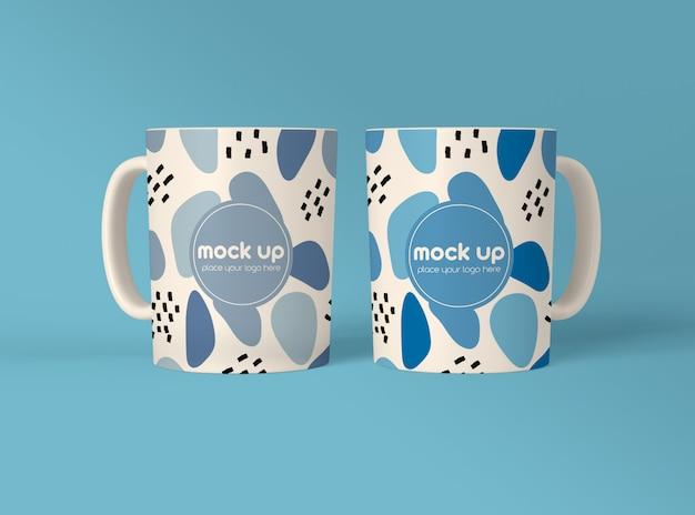 Maqueta de dos tazas de café PSD Premium