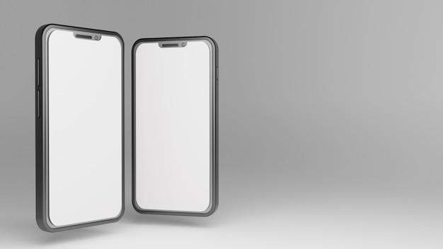 Maqueta de dos teléfonos inteligentes 3d con espacio en blanco