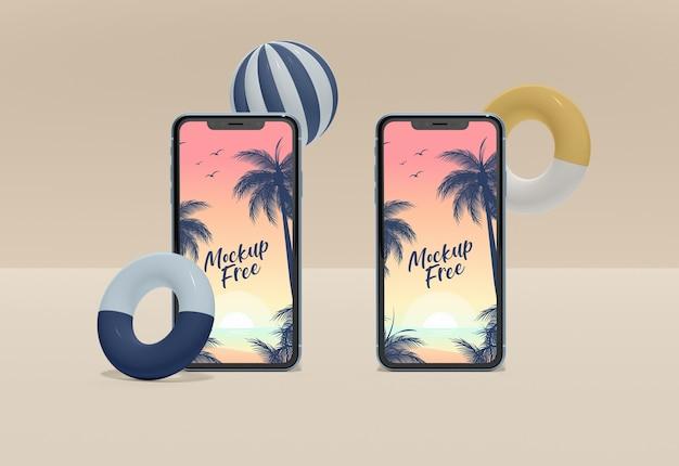 Maqueta de dos teléfonos inteligentes