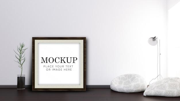 Maqueta editable en 3d con marco en el interior de la habitación moderna