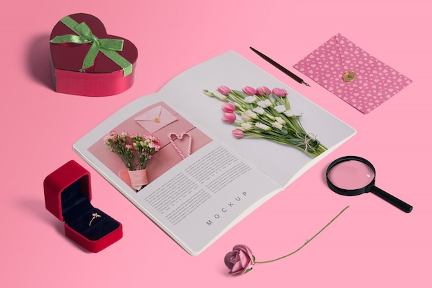 Maqueta editable isométrica scene creator con concepto de san valentin