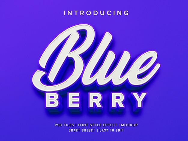 Maqueta de efecto de estilo de fuente 3d blueberry