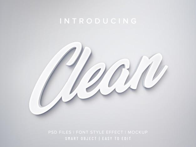 Maqueta de efecto de estilo de fuente 3d limpio blanco