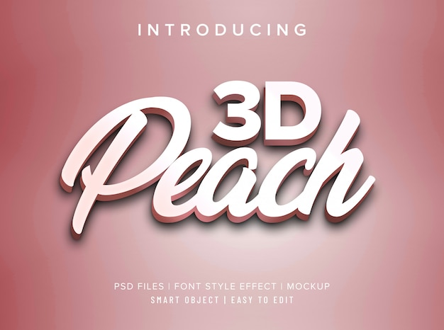 Maqueta de efecto de estilo de fuente 3d peach