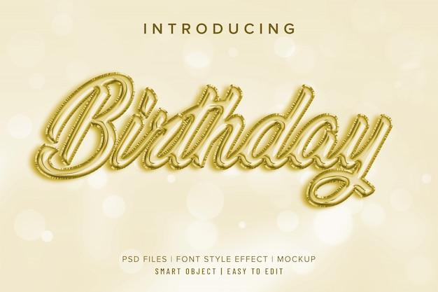 Maqueta de efecto de estilo de fuente de globo de cumpleaños 3d