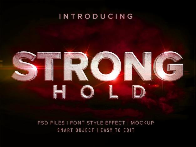 Maqueta de efecto de estilo de fuente de retención fuerte 3d