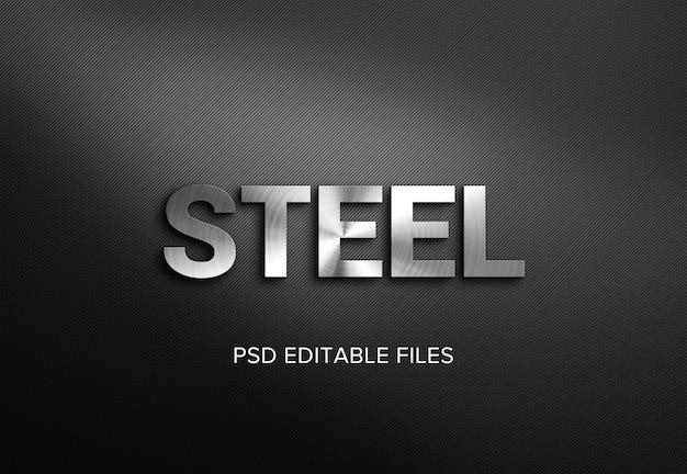 Maqueta de efecto de estilo de texto 3d de acero