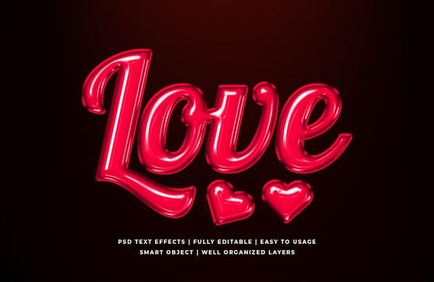 Maqueta de efecto de estilo de texto 3d de amor