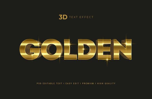 Maqueta de efecto de estilo de texto 3d dorado realista