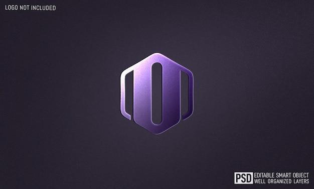Maqueta de efecto de estilo de texto 3d con logotipo de pared emmbosed