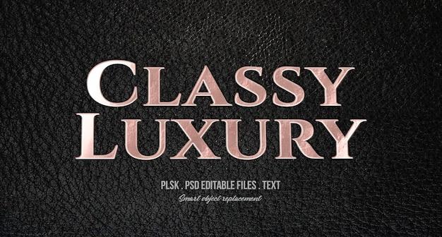 Maqueta de efecto de estilo de texto 3d de lujo con clase