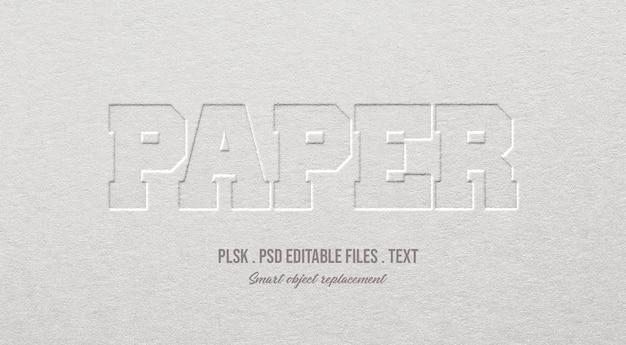 Maqueta de efecto de estilo de texto 3d de papel