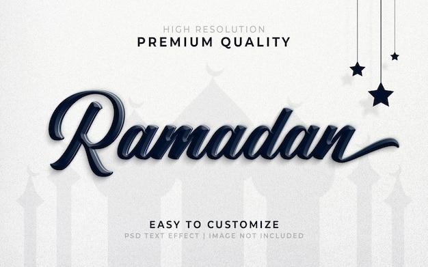 Maqueta de efecto de estilo de texto en 3d de ramadán